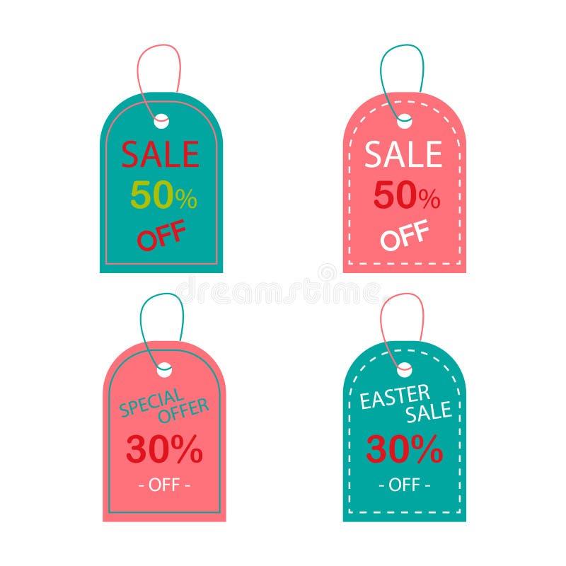 复活节在淡色特价销售50 30的销售标记 向量例证