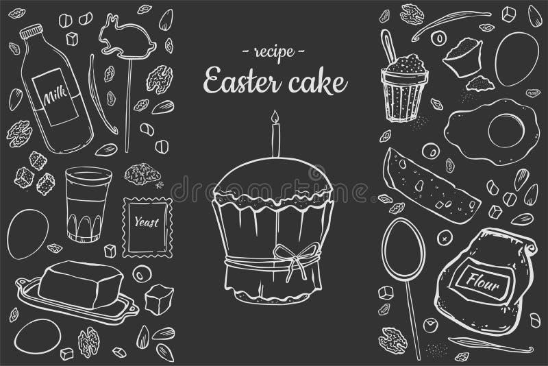 复活节在黑暗的背景的蛋糕食谱 皇族释放例证
