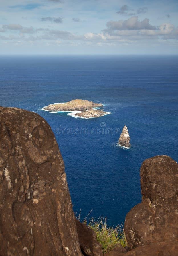 复活节岛在nui附近的小岛motu 免版税库存照片