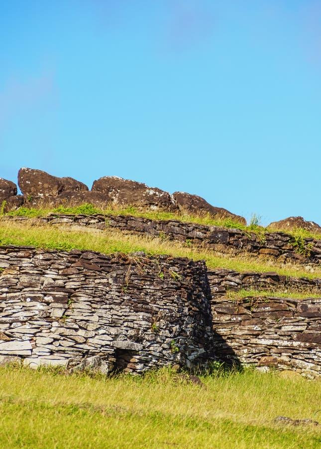 复活节岛的,智利Orongo村庄 免版税库存照片