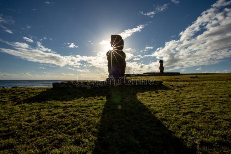复活节岛,智利 Tahai考古学复合体,Rapa Nui全国同水准 免版税库存图片