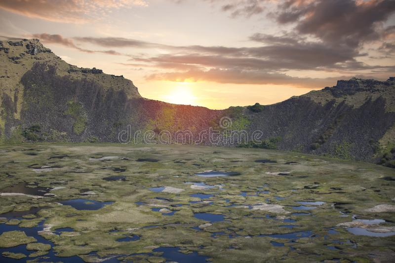 复活节岛kau rano火山 库存图片
