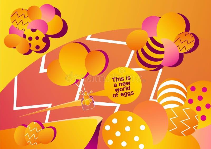 复活节彩蛋世界与一个气球的图象的从鸡蛋和卵子的 向量例证