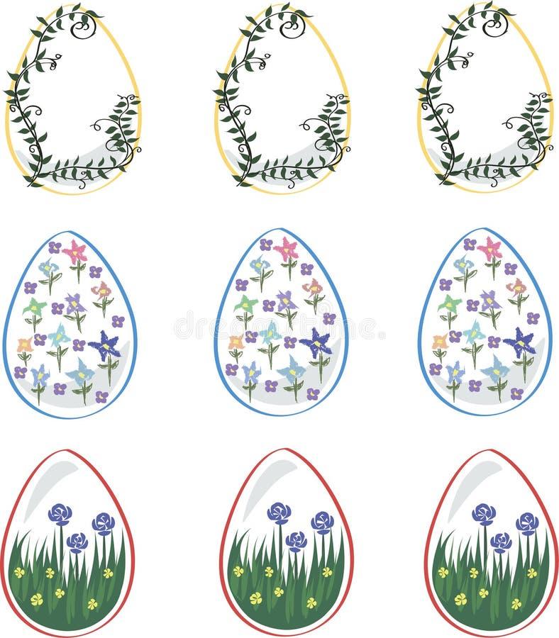 复活节彩蛋为假日,装饰用花 库存例证