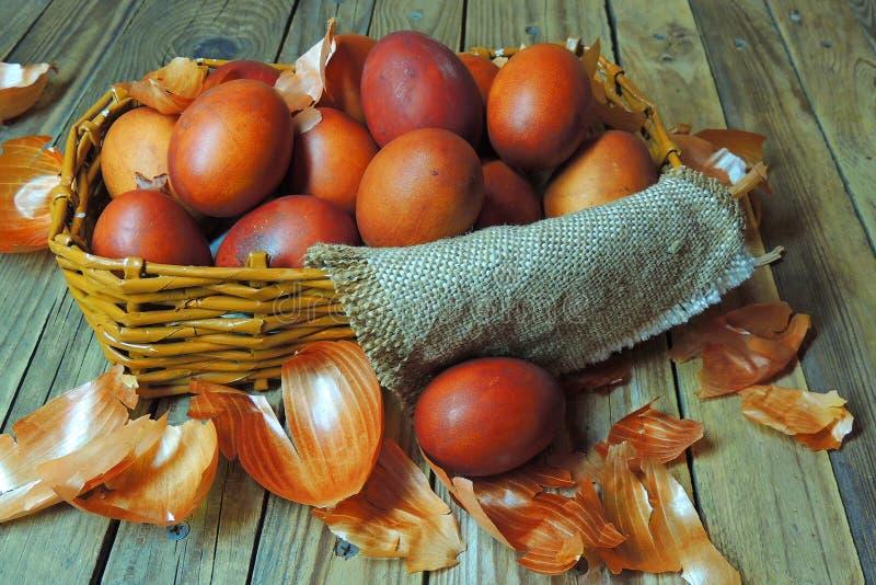 复活节彩蛋和果皮电灯泡 库存图片