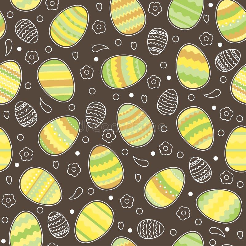 复活节彩蛋在巧克力背景的无缝的样式 皇族释放例证