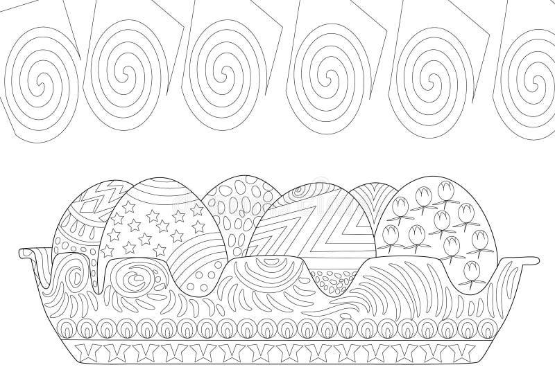 复活节彩蛋在Zentangle线描上色页横卧 库存例证