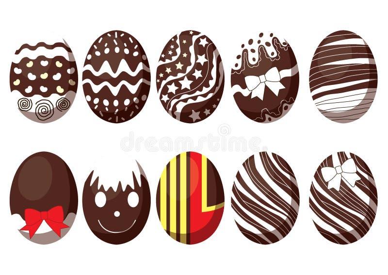 复活节彩蛋巧克力和牛奶五颜六色的设计每年节日 向量例证