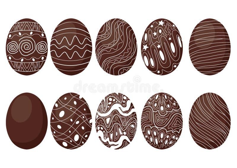 复活节彩蛋巧克力和牛奶设计 库存例证