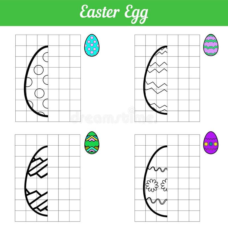 复活节彩蛋比赛拷贝图片 四孩子的彩图页 与等高栅格的传染媒介例证 与简单的鸡蛋 皇族释放例证