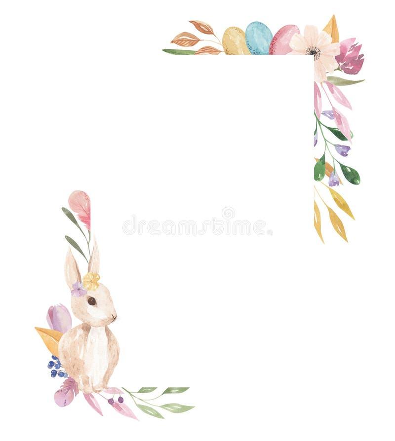 复活节彩蛋淡色春天离开桃红色花卉的壁角兔宝宝框架长方形水彩羽毛 皇族释放例证