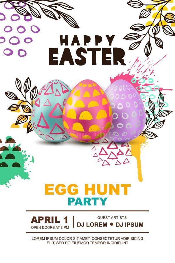 复活节彩蛋狩猎党传染媒介海报设计模板 横幅的,飞行物,邀请,贺卡,背景概念 库存例证