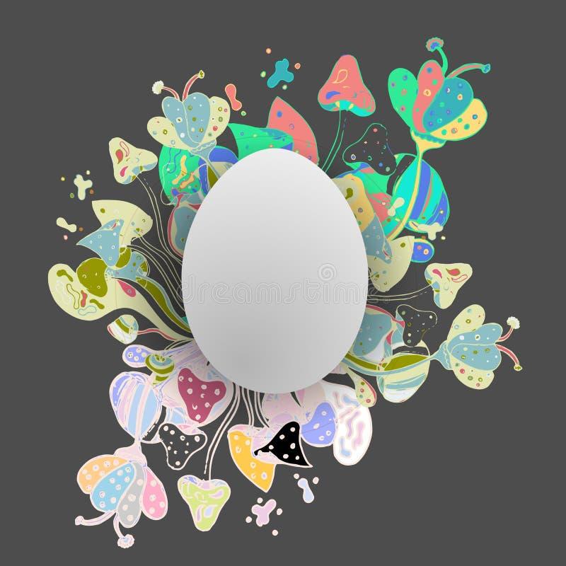 复活节彩蛋用着色蘑菇和森林反对 例证 10 eps 皇族释放例证