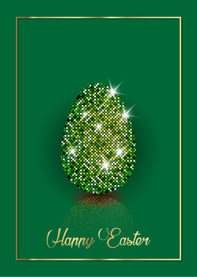 复活节彩蛋装饰金刚石,与豪华满天星斗的texure的发光的闪烁的鸡蛋 对招呼,邀请逗人喜爱的卡片 库存例证