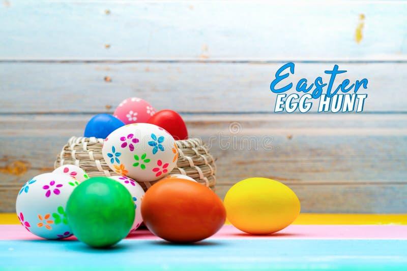 复活节彩蛋,愉快的复活节狩猎假日装饰 免版税库存照片