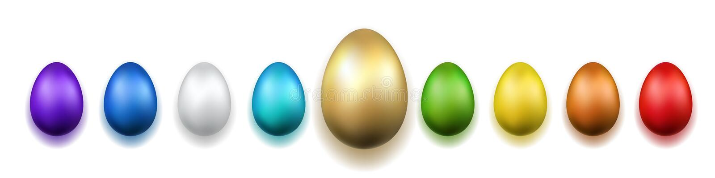 复活节彩蛋3D象 金子,颜色鸡蛋设置了被隔绝的白色背景 金黄设计,装饰愉快的复活节庆祝 库存例证
