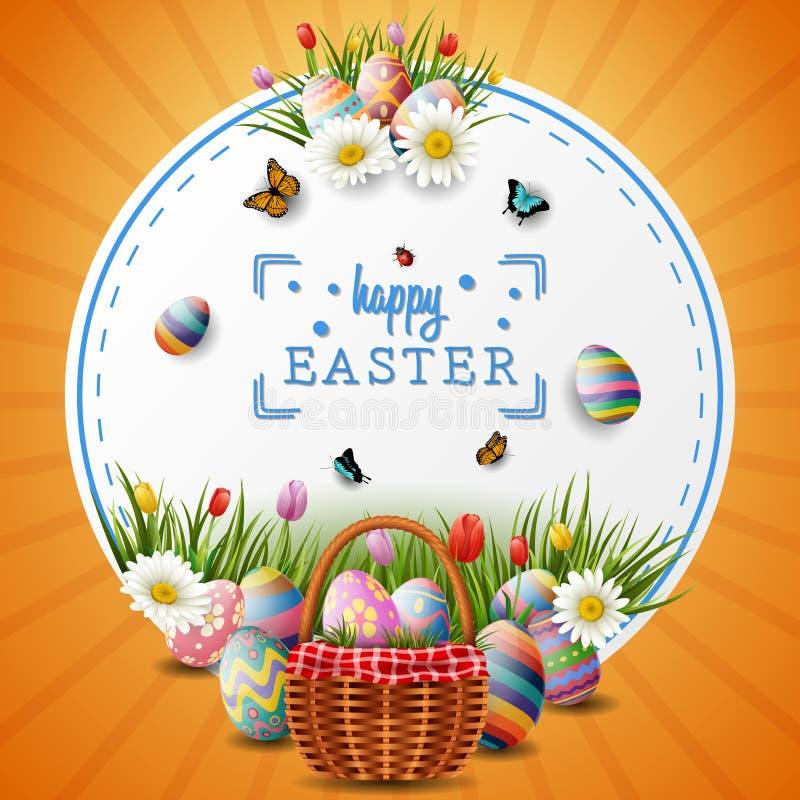 复活节快乐用鸡蛋和花在圈子背景 向量例证