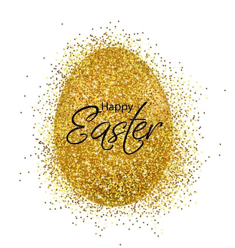 复活节快乐,现实鸡蛋,金黄闪烁蛋卡片 皇族释放例证