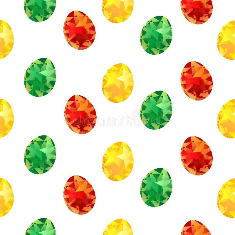 复活节无缝的样式用五颜六色的被绘的鸡蛋,春天假日,织物印刷或背景的,墙纸,广告,横幅 皇族释放例证