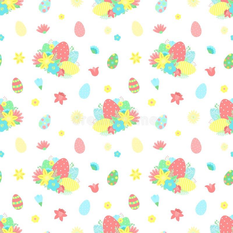 复活节无缝的样式用五颜六色的鸡蛋,花,在透明背景的花束 sprin的传染媒介手拉的例证 库存例证