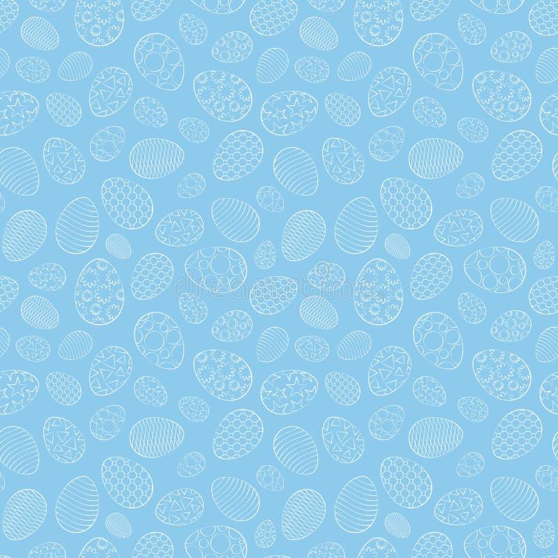 复活节无缝的样式,与另外装饰品的鸡蛋,在蓝色背景 皇族释放例证