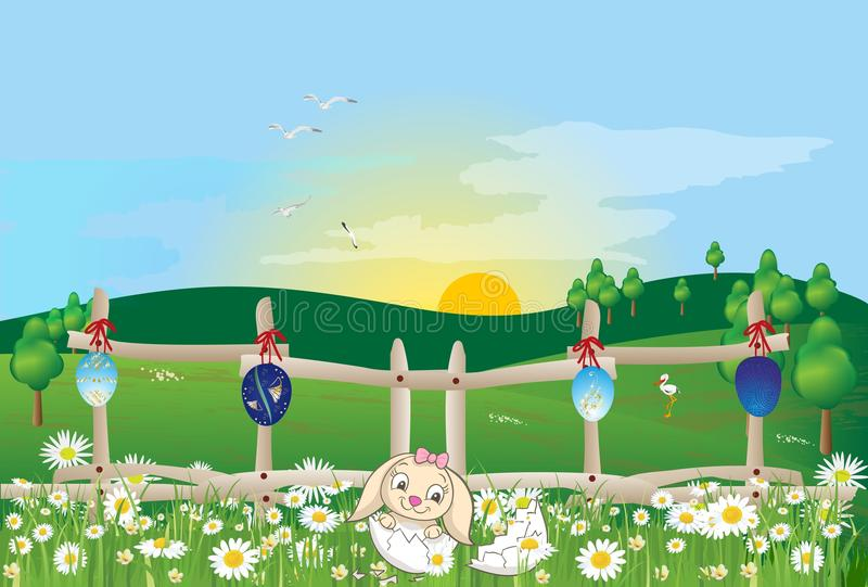 复活节早晨用复活节彩蛋和野兔 皇族释放例证