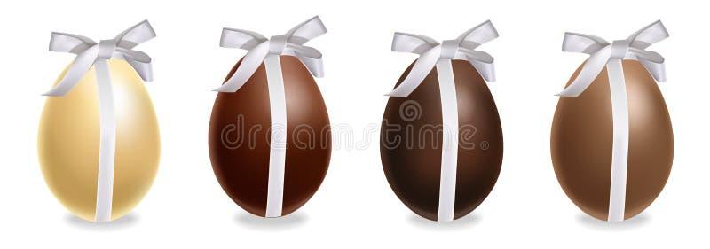 复活节朱古力蛋礼物套装导航现实 牛奶巧克力和黑暗的巧克力 3d详述了海报或标签 皇族释放例证