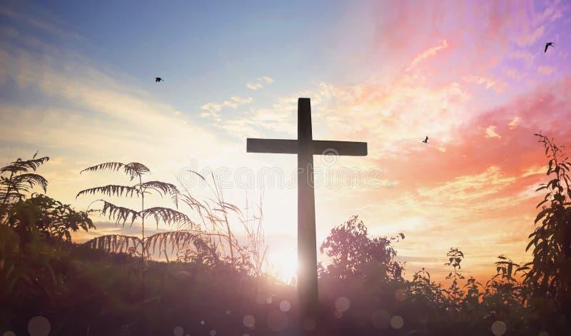 复活节概念:耶稣基督在十字架上钉死的例证在基督受难日的 免版税图库摄影