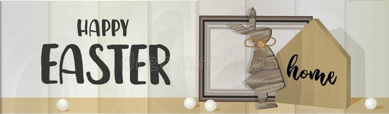 复活节横幅 水平海报、明信片、网站标题、背景,带文本Happy Easter 木天使,珠子 生态 皇族释放例证