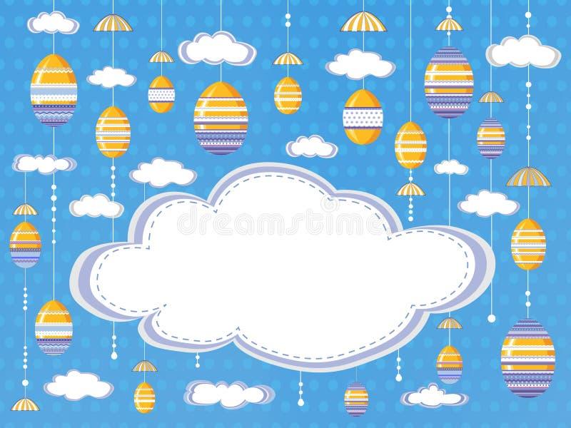 复活节欢乐背景或海报与云彩和垂悬的装饰鸡蛋在天空背景与空的空间文本的 库存例证