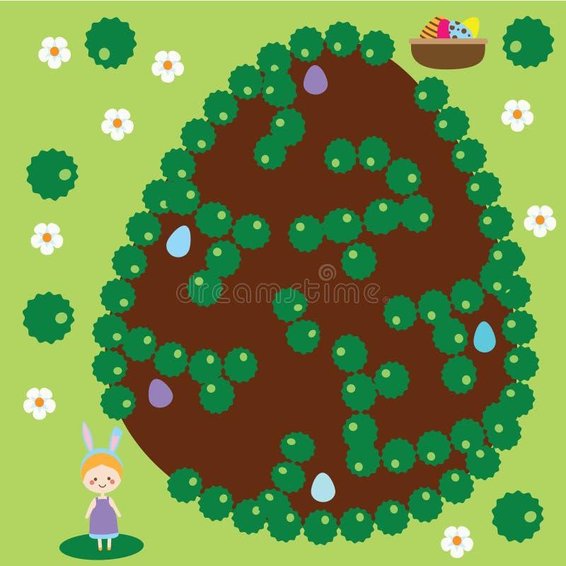 复活节活动 迷宫比赛 蛋狩猎 向量例证