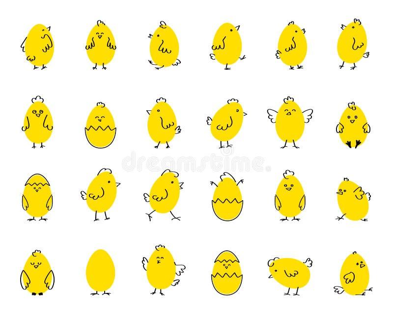 复活节滑稽的逗人喜爱的鸡,在白色被隔绝的背景的平的传染媒介例证 集合 皇族释放例证