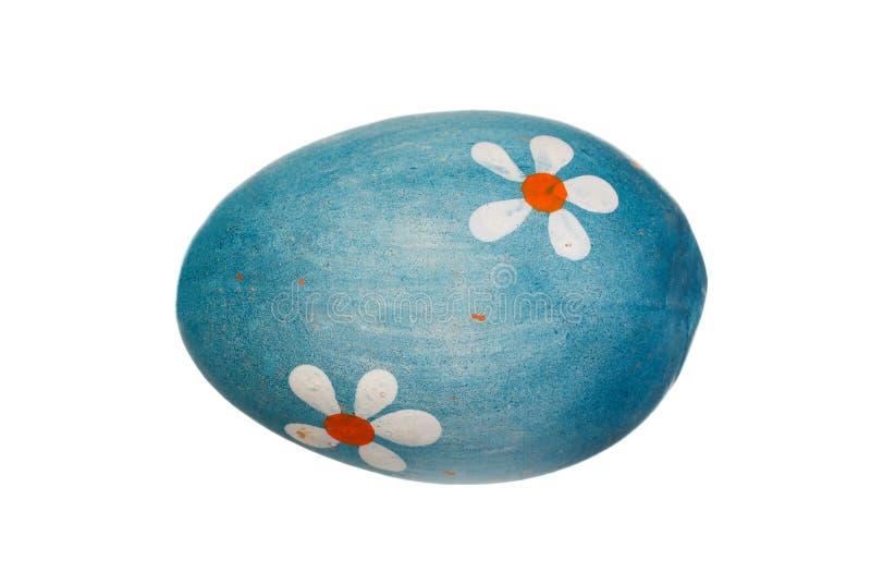 复活节的蓝色鸡蛋与花 免版税库存照片