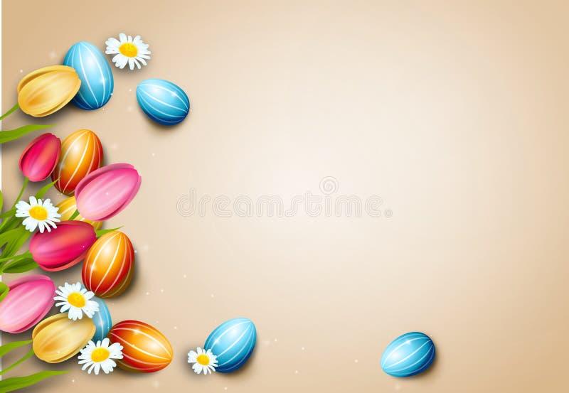 复活节背景用复活节彩蛋和郁金香 库存例证
