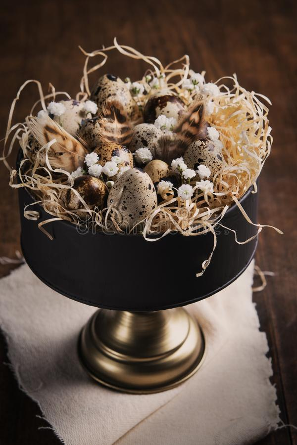 复活节背景用鹌鹑蛋、羽毛和春天枝杈和花在葡萄酒蛋糕立场在黑暗的木土气桌上 库存照片