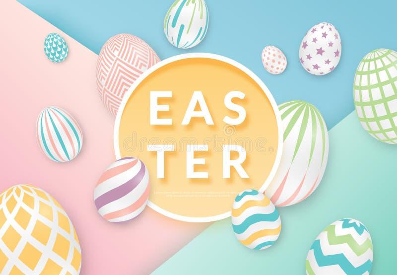 复活节背景用3d与圈子框架的华丽鸡蛋 在软的颜色的例证 逗人喜爱的复活节横幅,海报,飞行物 皇族释放例证
