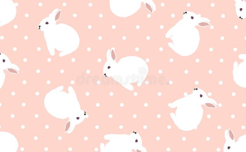 复活节艺术,逗人喜爱的小的兔宝宝,白色和被数字化的工艺样式,桃红色背景影像,短上衣小点传染媒介 库存图片
