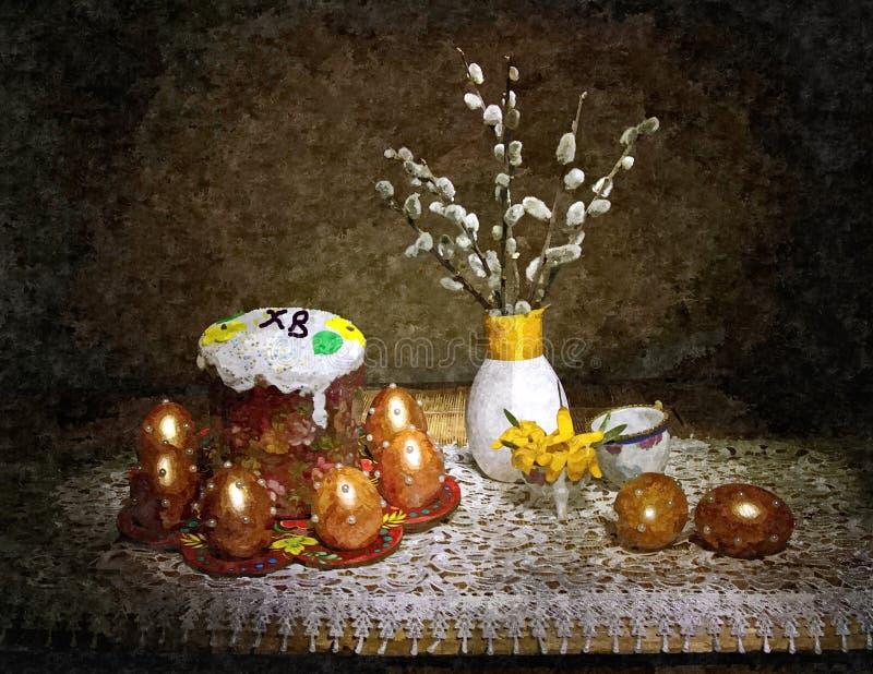 复活节蛋糕和被绘的鸡蛋在桌上 很快正统复活节 土气的生活仍然 在纸的绘的湿水彩 库存例证