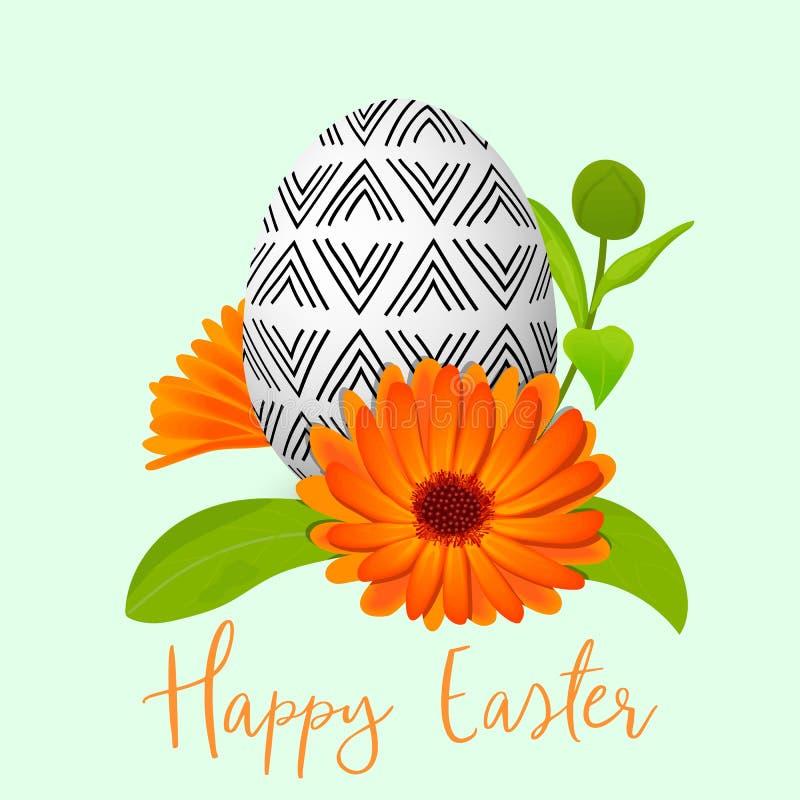 复活节装饰了蛋和金盏草花圈 与简单的抽象装饰品的被装饰的欢乐鸡蛋 春天假日 向量例证