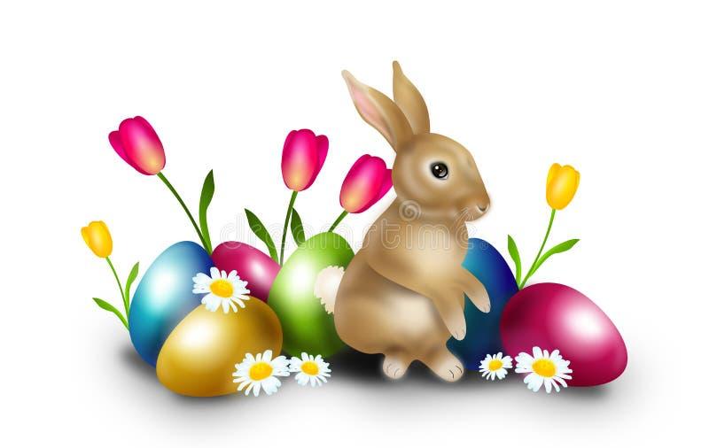复活节装饰用复活节彩蛋和兔宝宝 向量例证
