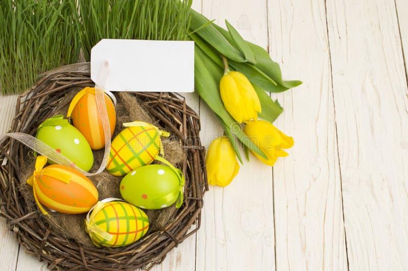 复活节装饰用鸡蛋和郁金香在木背景 库存照片