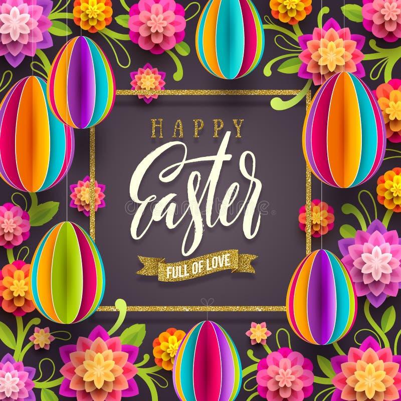 复活节贺卡-与闪烁金丝带和纸花和蛋背景的问候 皇族释放例证