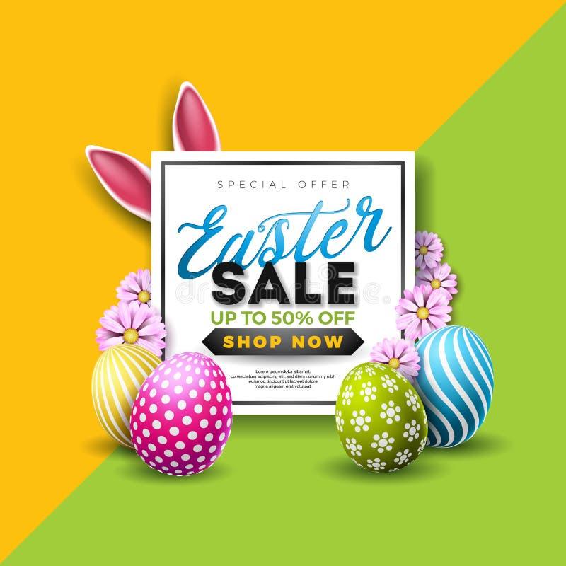 复活节销售例证用颜色被绘的鸡蛋和印刷术元素在抽象背景 传染媒介假日设计 皇族释放例证