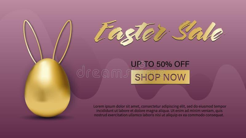 复活节销售特价横幅用金黄复活节彩蛋和手写的文本设计事务、促进和广告的 库存例证