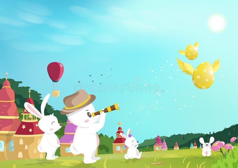 复活节,蛋狩猎,看对在草地的金黄蛋飞行的兔宝宝在自然庭院,童话当中幻想动画片,贺卡里, 向量例证