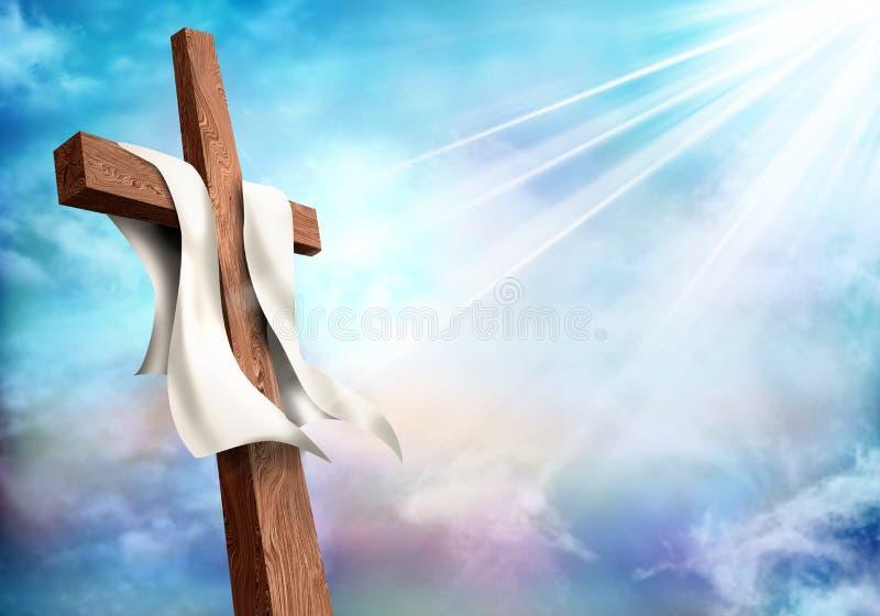 复活 基督徒十字架有云彩天空背景 在死亡以后的生活 向量例证