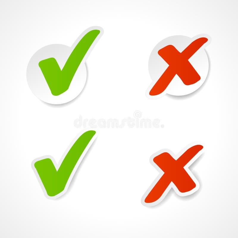 复选标记贴纸向量 向量例证