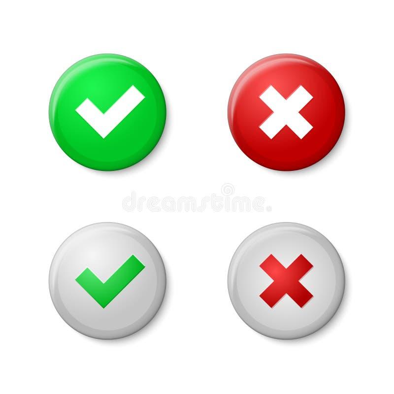 复选标记 现实按钮样式,与光泽 向量例证