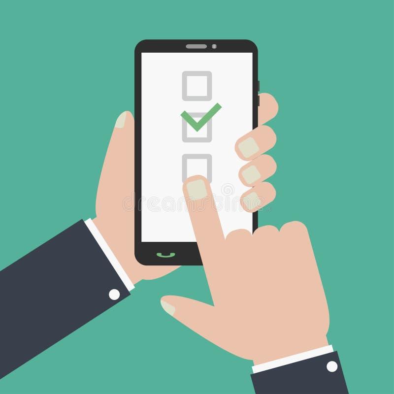 复选框和检查号在智能手机屏幕上 手拿着电话 库存例证