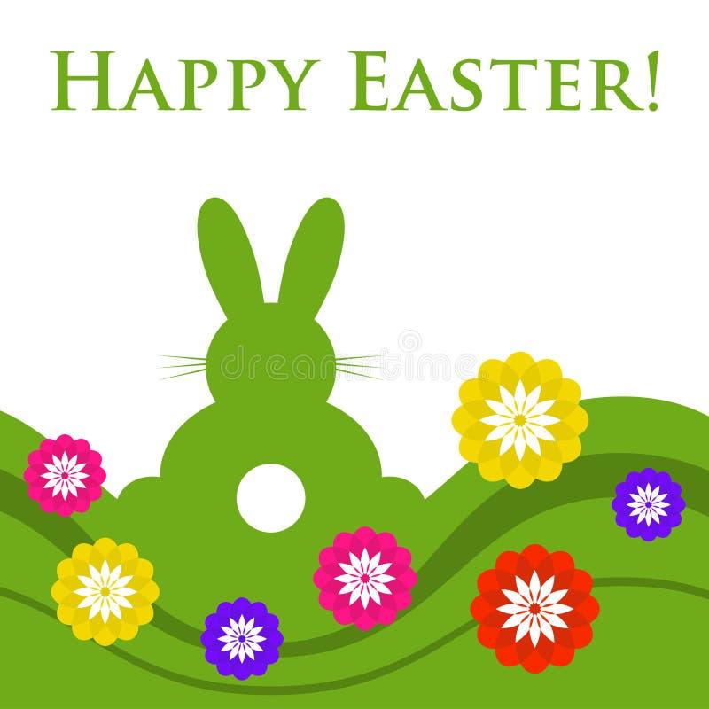 复活节上色了贺卡-与花的兔子 皇族释放例证